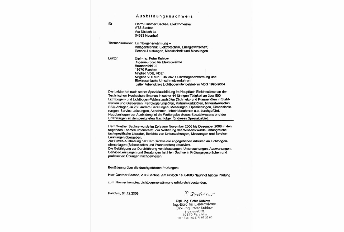 Gunther Sachse Ausbildungsnachweis