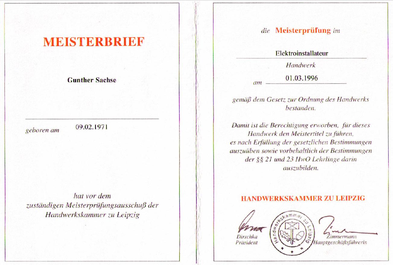 Gunther Sachse Meisterbrief